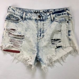 Mossimo Acid Wash Stars Stripes High Rise Shorts 8